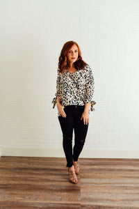 Leopard Top with Draped Front