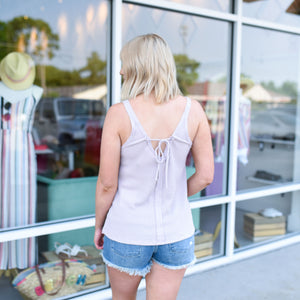 Lavender Knit Tank with Back Tie