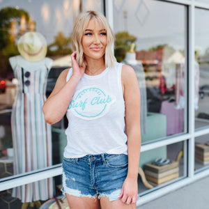 White tank with turquoise lettering Surf Club - Sugar Threads Boutique