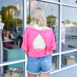 Pink Open Back Tee