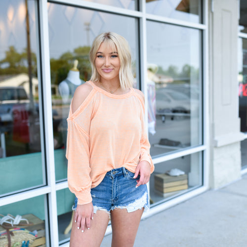 Orange Open Shoulder Top
