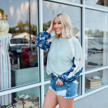 Sage Top with Multi Print Sleeve
