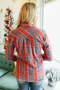 Red and Navy Raw Hem Plaid Top