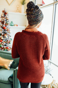 Brick Chenille Lace Trim Sweater