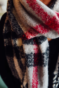 Grey and Red Plaid Fringe Scarf