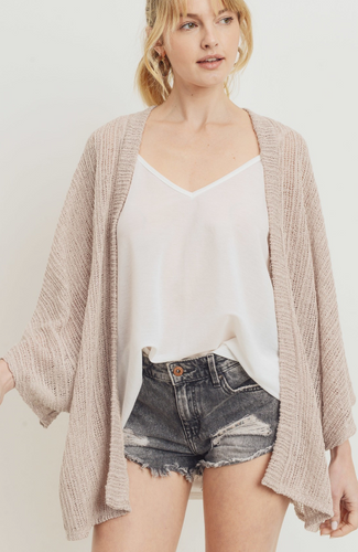 Beige Short Sleeve Open Cardigan