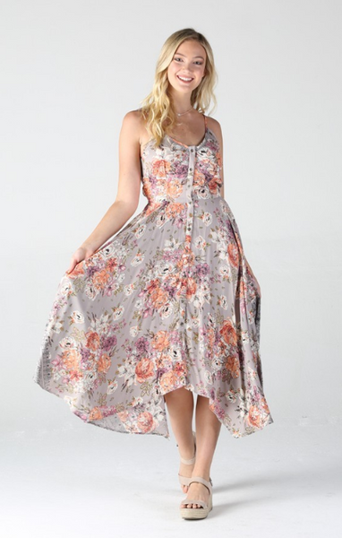 Greige Floral Midi Dress