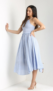 Blue and White Smocked Bodice Maxi Dress