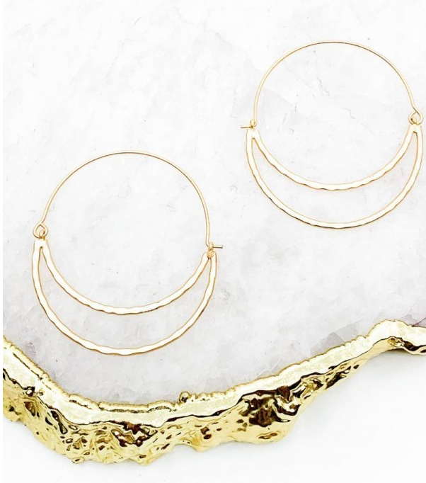 Gold Hammered Crescent Cut-Out Earrings