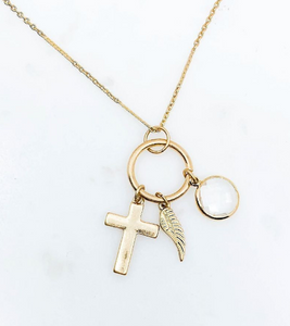 Gold Cross Pendant Charm Necklace