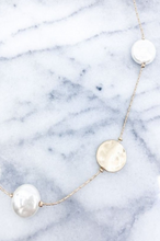 Gold and Pearl Hammered Coin Pendant Necklace