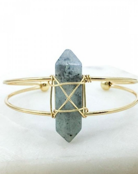 Greenish Wrapped Stone Cuff
