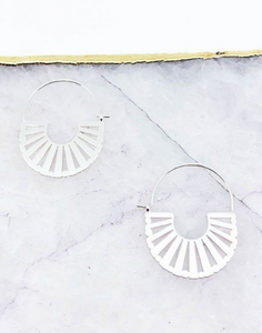 Silver Cutout Hoop Earrings