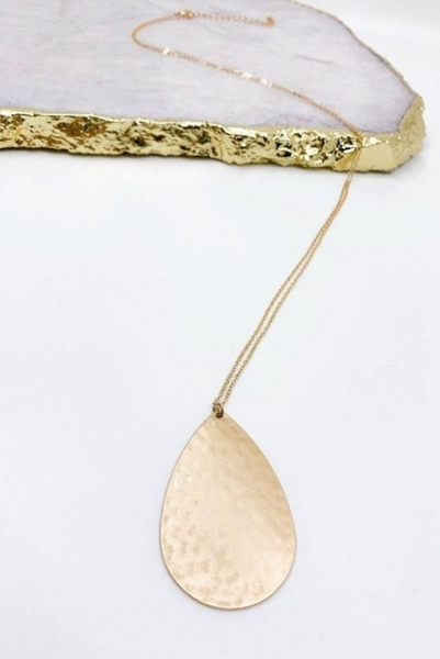 Hammered Teardrop Pendant Necklace