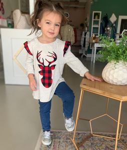 Kids Reindeer Ruffle Sleeved Top