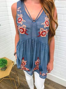 Denim Embroidered Tank w/ Tassel Tie