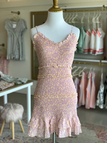 Lavender Peach Smocked Tank Dress