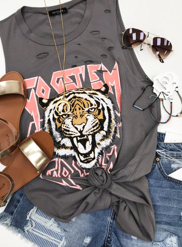 Gray Distressed Tiger Tank