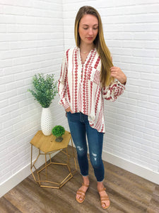 Tan Button-Up Printed Top