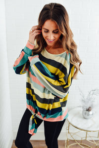 Green Multi Color Striped Sweater with Tie