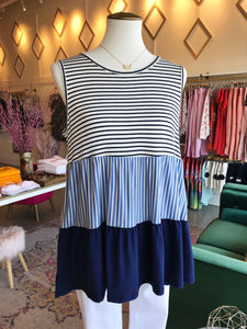 Tiered Striped Tank Tunic