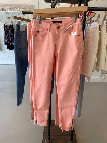Coral Zipper Detail Skinnies