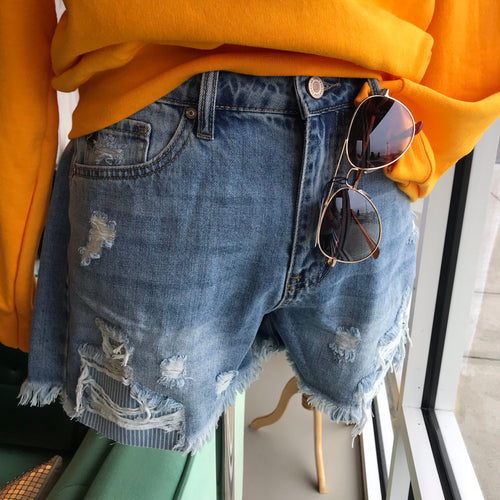 High Rise Distressed Striped Pocket Patch Jean Shorts