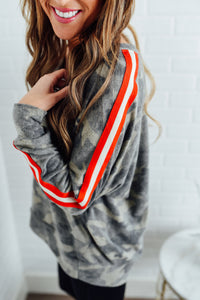 Camo Pullover with Arm Stripe