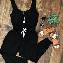 Black Tanktop Drawstring Jumpsuit