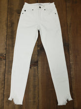 High Rise White Denim with Distressed Ankle Hem