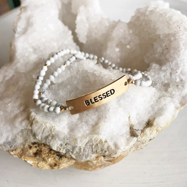 Blessed White Bead Bracelet