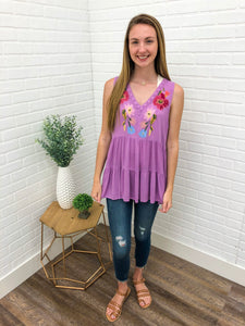 Purple Embroidered Tank