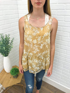 Taupe Floral Tier Tank