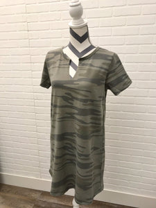 Split Neck Camo T Shirt Dress