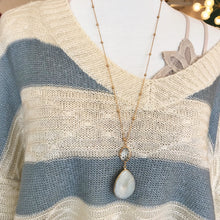 Blue and Cream V Neck Sweater