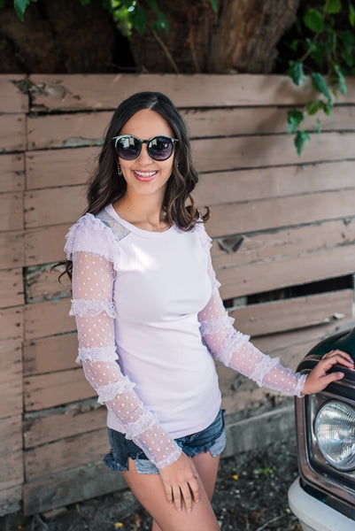 Lilac Tulle Sleeve Top