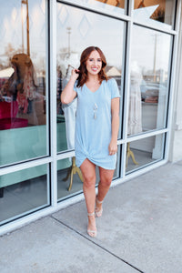Light Blue Knotted Dress