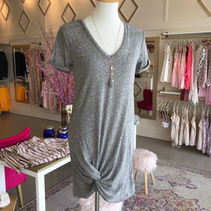 Gray Short Sleeve Knot Dress