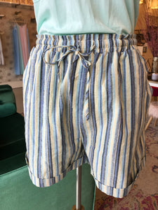 Blue Candy Striped Drawstring Shorts