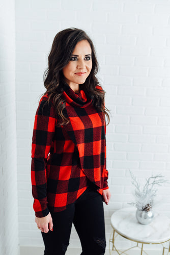 Red and Black Buffalo Plaid Crossover Sweater