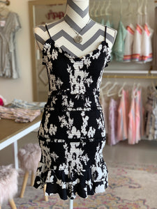 Black and White Smocked Tank Dress