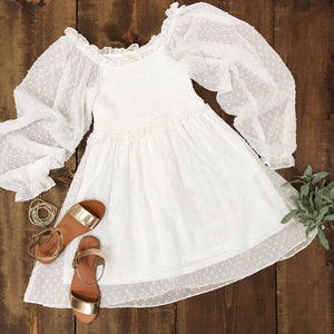 Swiss Dot Long Sleeve Babydoll Dress