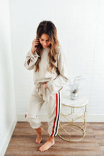 Tan Joggers with Side Stripe