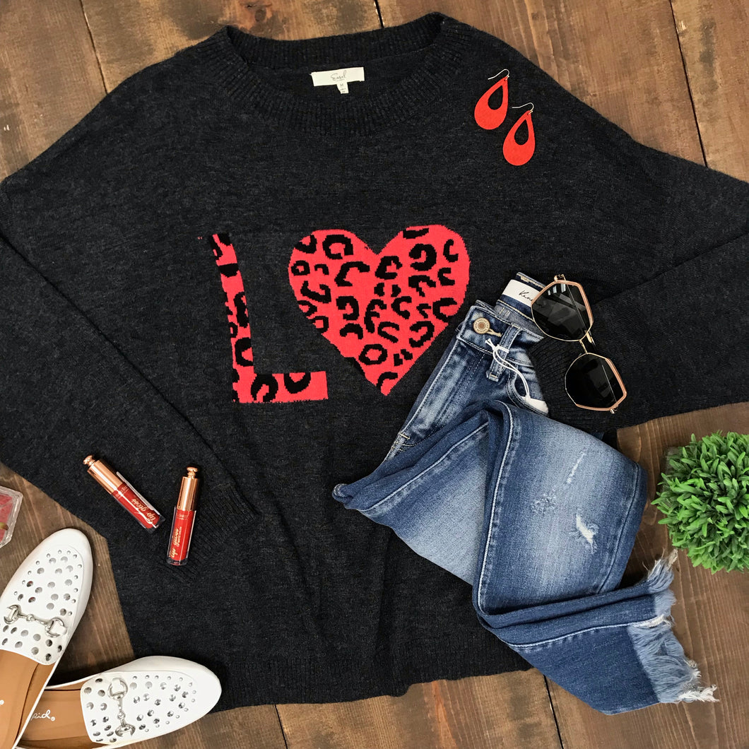 LOVE Charcoal Sweater