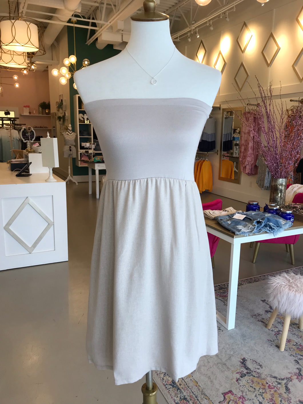Mocha Linen Strapless Tube Dress