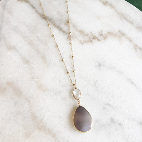 Grey Stone Pendant Necklace
