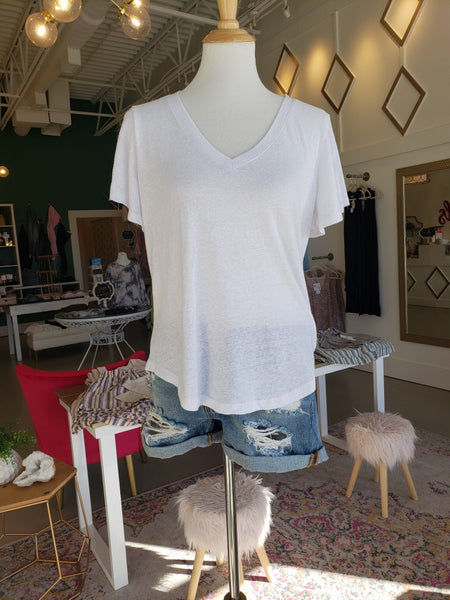 White Flutter Sleeve V-Neck Tee