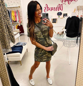 Rolled Sleeve Army Green Camo Dress