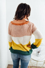 Green, Pink, Mustard Color Block Sweater