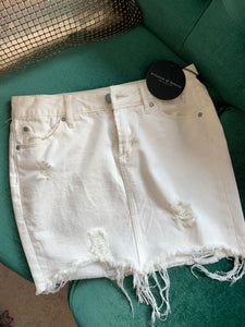 White Stacy Denim Mini Skirt